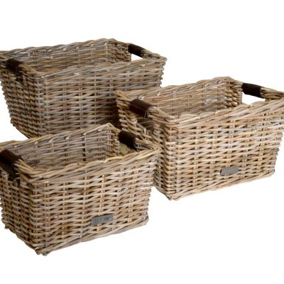 11/6161102 Set 3 Oblong Grey Storage Baskets leather Handles