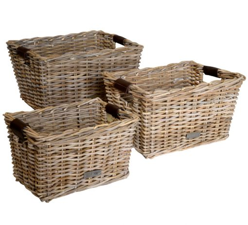 11/6161102 Set 3 Oblong Grey Storage Baskets leather Handles