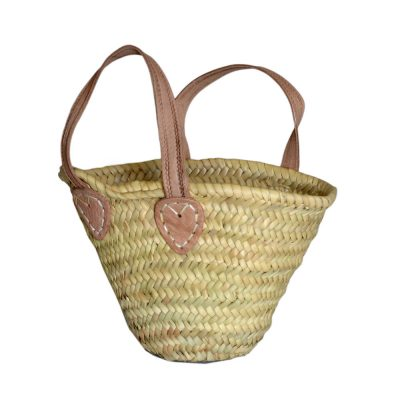 05/4410 Childs Palm shopping basket with leather handles