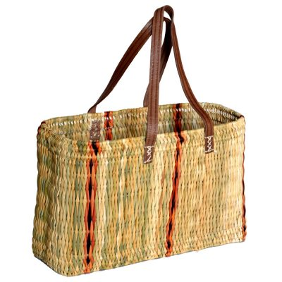 05/6135L Large Oblong Striped Bulrush Shopper