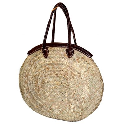 05/6320RA Oval Palm Shopper with Leather Trim