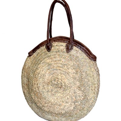 05/6350RA Round Palm Shopper with Leather Trim