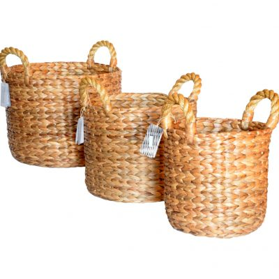 11-21666 Set 3 Round Chunky Waterhyacinth Baskets