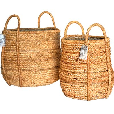 11-21800 Set 2 Round Banana leaf and Waterhyacinth baskets