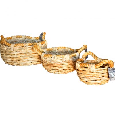 11-2998 Set 3 Round Chunky Banana leaf Baskets with rope trim/handles