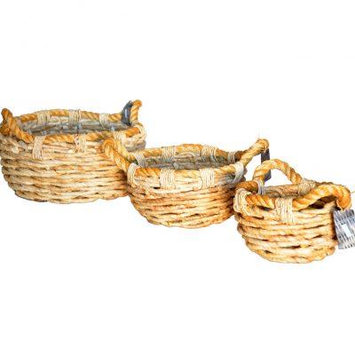 11-2998 Set 3 Round Chunky Banana leaf Baskets with rope trim/handles