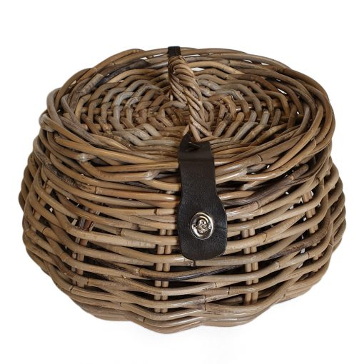 05/5050 Round Grey Sewing Basket with leather securing strap