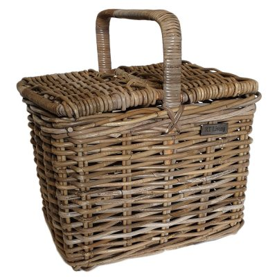 05/5520 Deep Oblong Grey Double Lidded Picnic Basket
