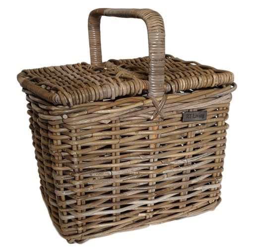 05/5520 Deep Oblong Grey Double Lidded Picnic Basket