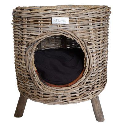 09/5008 Round Grey Pet Stool with Mango Wood Feet and Black Cushion
