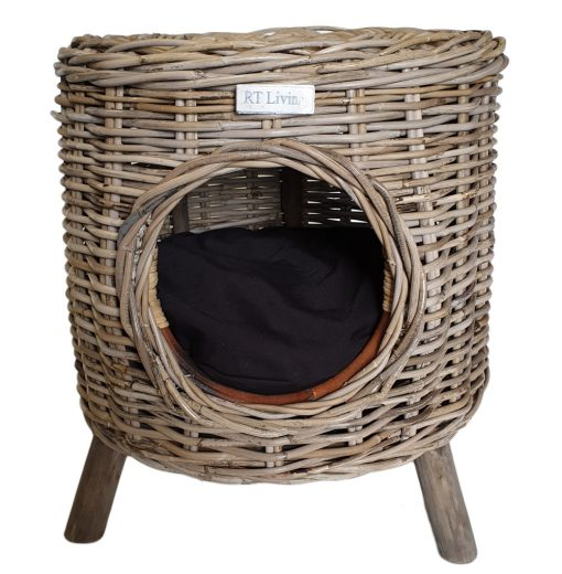 09/5008 Round Grey Pet Stool with Mango Wood Feet and Black Cushion