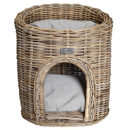 09/5018 Two Storey Oval Grey Cat Bed with Cushions