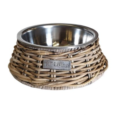 09/5162 Stainless Steel Pet Bowl with Grey Rattan Holder