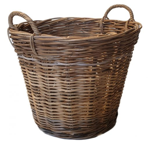10/407G Single Round Grey Log Basket