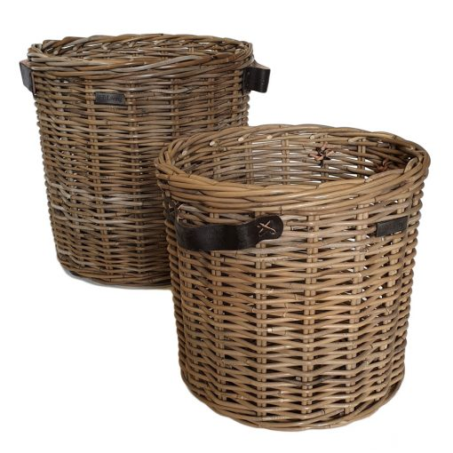 10/5009 Set of 2 Round Grey Log Baskets with Thick Leather Handles