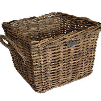 10/5012 Small Square Grey Log Basket