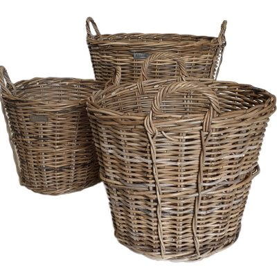 10/5172 Set of 3 Round Grey Log Baskets with Side Trim Detail