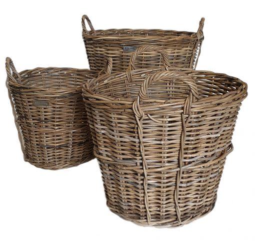 10/5172 Set of 3 Round Grey Log Baskets with Side Trim Detail