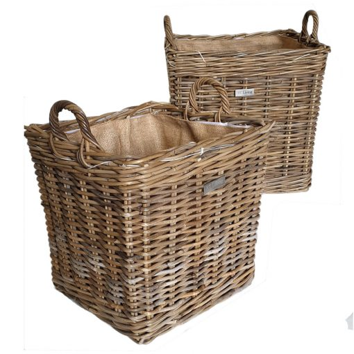 10/5205 Set of 2 Square Grey Log Baskets with Jute Liners
