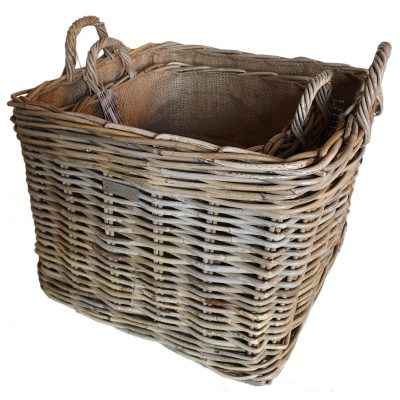 Set of 2 Square Grey Log Baskets with Jute Liners