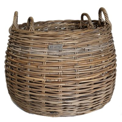 10/5220 Set of 2 Round Grey Belly Log Baskets