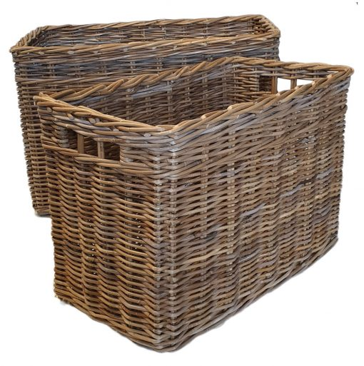 10/9972G Set of 2 Oblong Grey Log Baskets