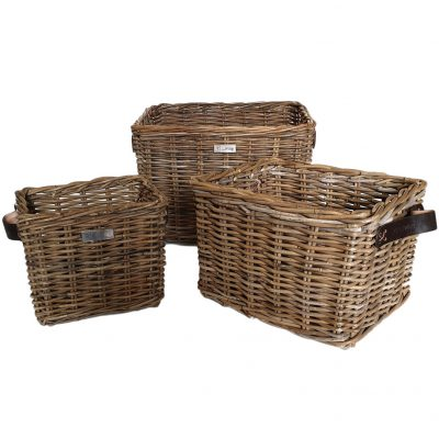 11/5007 Set 3 Oblong Grey Storage Baskets with thick Leather Handles