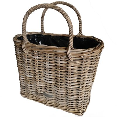02-61086L Large Grey Oblong Shopping Basket Style Planter with Plastic Liner