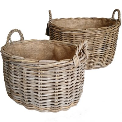 10-60817G Set of 2 Oval Grey Log Baskets with Jute Liner £