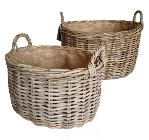 10-60817G Set of 2 Oval Grey Log Baskets with Jute Liner £
