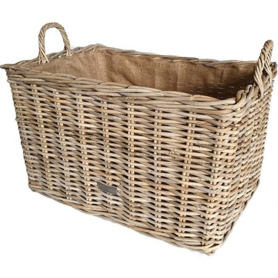 10-6854 Grey Oblong Log Basket with Jute Liner
