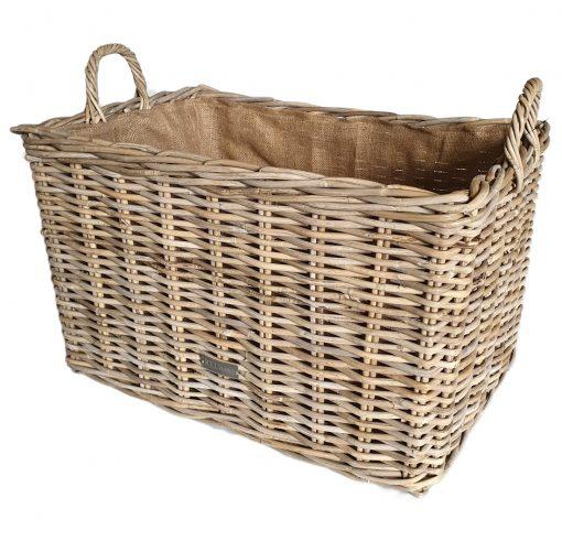 10-6854 Grey Oblong Log Basket with Jute Liner