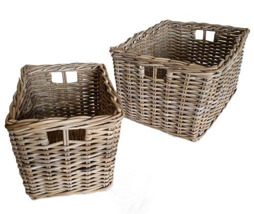 11/6865 Deep Oblong Grey Storage Baskets