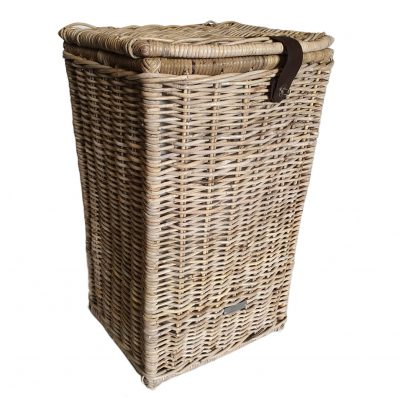 Tall Grey Shaped Laundry Basket with Calico LiningTall Grey Shaped Laundry Basket with Calico Lining