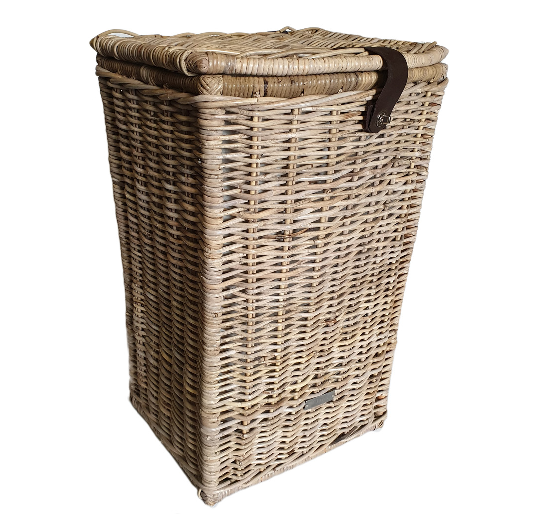Tall Grey Shaped Laundry Basket with Calico Lining ...