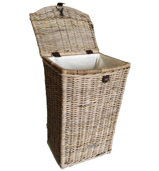 Tall Grey Shaped Laundry Basket with Calico Lining - open l;id