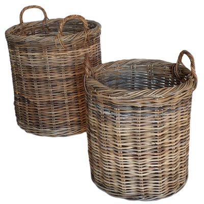 Set of 2 Grey Round Log Baskets