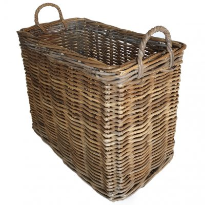 Narrow Grey Oblong Log/Storage Basket