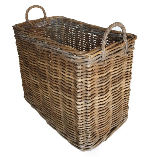 Narrow Grey Oblong Log/Storage Basket