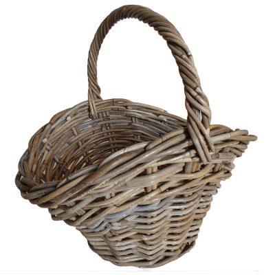 Oval Grey Shaped Flower Basket or Trug