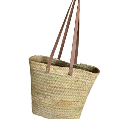 Slim Palm Shoulder Shopper Light Tan Handles