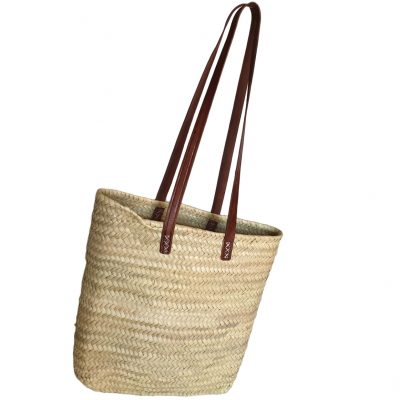 Slim Palm Shoulder Shopper Dark Tan Handles