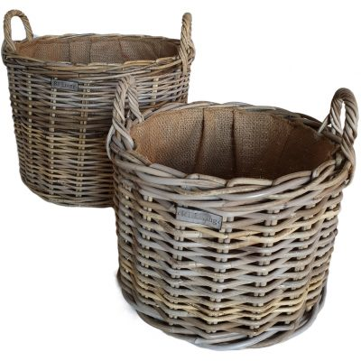 Set 2 Round Grey Log Baskets with Jute Liner