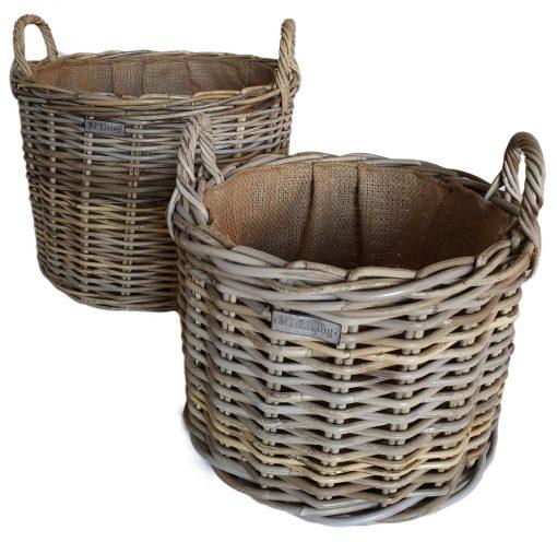 Set 2 Round Grey Log Baskets with Jute Liner