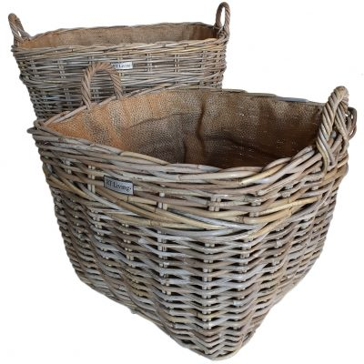 Set 2 Oblong Grey Log Baskets with Jute Liner