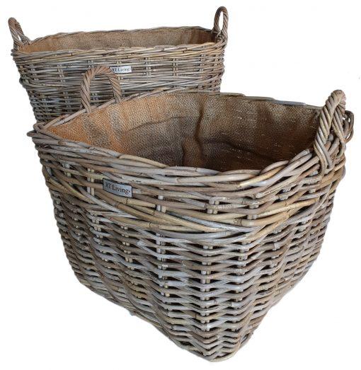 Set 2 Oblong Grey Log Baskets with Jute Liner