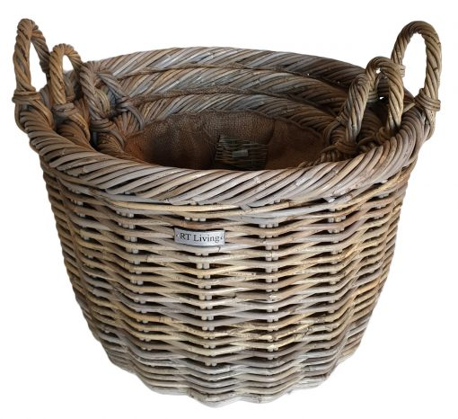 Set 3 Round Grey Log Baskets with Jute Liner