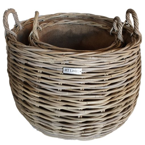 Set of 2 Round Grey Belly Log Baskets with Jute Liner