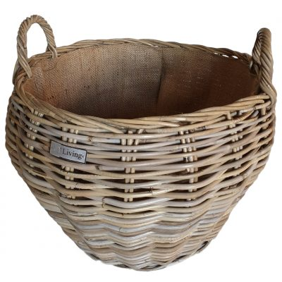 Round Grey Shaped Log Basket with Jute Liner