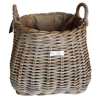 Round Shaped Grey Billy Basket with jute liner
